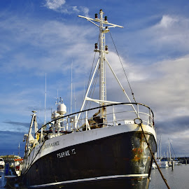 Independence fishing trawler  by Eloise Rawling - Transportation Boats ( trawler, blue sky, harbour, cloudy, fishing boat,  )