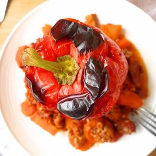 Clean Ground Turkey Roasted Stuffed Peppers (paleo, GF)