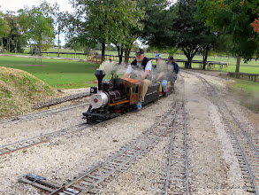 Photo: Bill Smith (LNR 13) and Jeff Perkins (Hot Penny) get the Charles Williams loco running.      HALS / SWLS 2013-1107  RPW