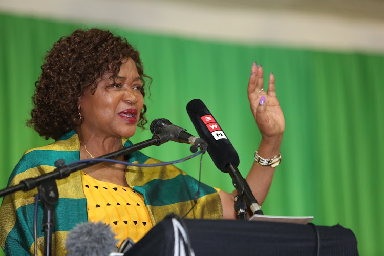 December 4  , 2017. Baleka Mbethe dismisses talk of presidential hopefuls at the Provincial General council of the ANC in KZN at the Olive Convention Centre in Durban