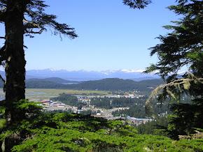 A mountaintop view looking down into Juneau, Alaska.