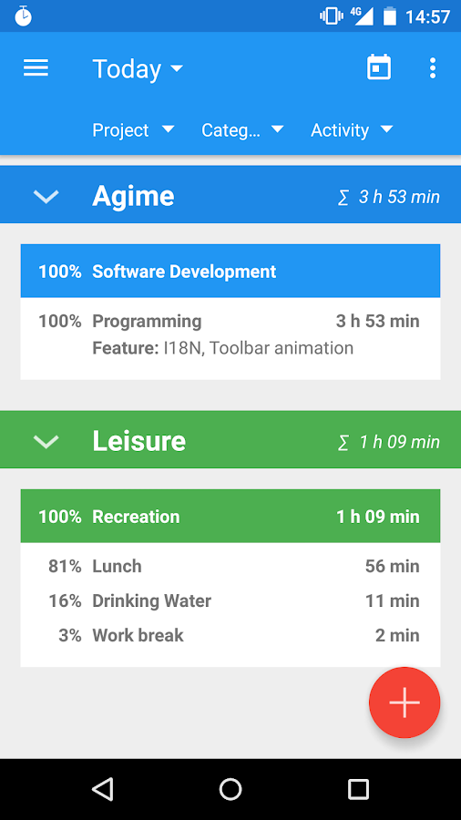 Agime - time sheet- screenshot