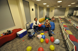 Photo: Chris and Clive pumping up the balloons for the dart board. Thanks for the awesome help!!!