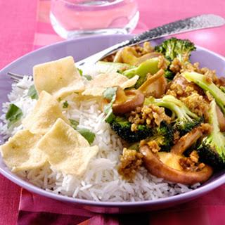 Gewokt Teriyakigehakt met broccoli en shii-takes