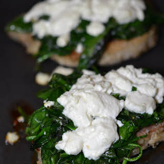 Goat Cheese and Spinach Topped Pork Chops.