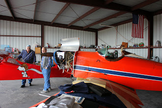 Photo: Ron's Fly Baby.  His Smurf Sonex is in the hanger with Don S' T-Craft.