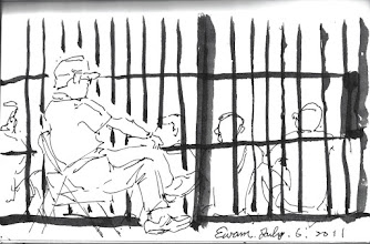 Photo: 𥚃面;外面2011.07.06鋼筆 身為苦力關𥚃面 頭戴帽子坐外面 自不自由一門隔