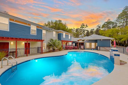 Plato's Villas at San Marcos swimming pool at dusk