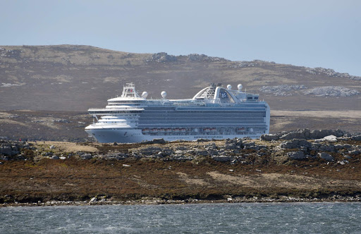 emerald-princess.jpg - Emerald Princess in the distance as we came back into Stanley over the hills.