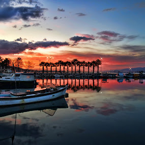 Dreams Sunset by Murat Can - Landscapes Sunsets & Sunrises ( clouds, dreamy, skyline, boats, reflections, seascape, burning, landscape, mirror, sky, sunset, stars, sandals )