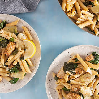 One Pan Cajun Chicken Penne with Artichokes and Lemon.