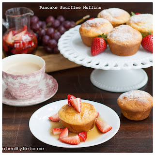 Pancake Soufflee Muffins with Strawberry Maple Syrup.