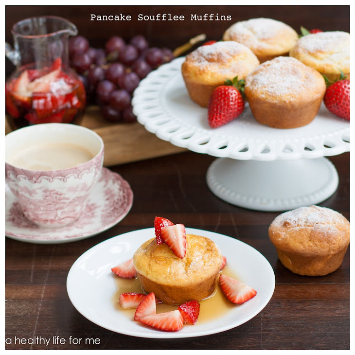 Pancake Soufflee Muffins with Strawberry Maple Syrup Recipe