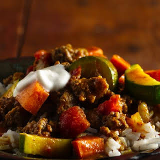 Beef, Summer Squash and Sweet Potato Curry.