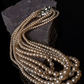 String Of Pearls by Russell Mander - Artistic Objects Jewelry ( pearls, 5 string, white pearls, slate )