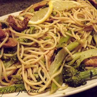 Broccoli, Grilled Pork Strips and Spaghetti!!!