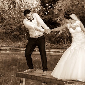 The pull by FIWAT Photography - Wedding Bride & Groom ( sepia, outdoors, bride and groom )
