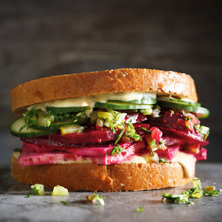 Beet and Tofu Deli Sandwich.
