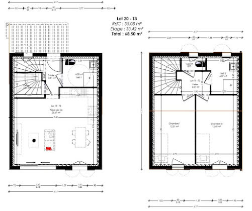 Vente terrain à bâtir 145 m2