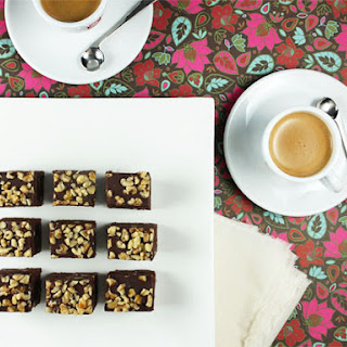 Coffee-Infused Brownies with Dark Chocolate Glaze and Walnuts