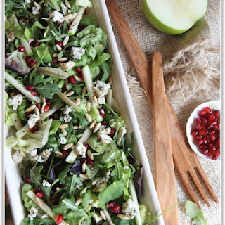 Salad of Apples, Pomegranate, Gorngonzola and Pine Nuts