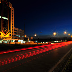 KOTA SAMARAHAN BLUE HOUR by Ismail Rali - City,  Street & Park  Street Scenes ( building, blue, sunset, street, hour, landscape )