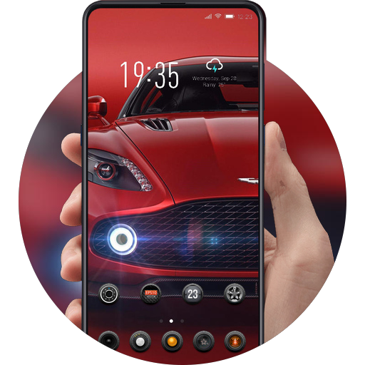 Premium luxury red sports car launcher theme