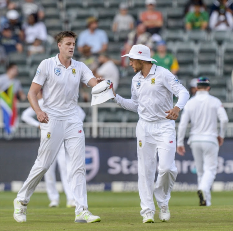 Morne Morkel and Wiaan Mulder of South Africa during day 2 of the 4th Sunfoil Test match between South Africa and Australia at Bidvest Wanderers Stadium on March 31, 2018 in Johannesburg, South Africa.