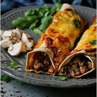Cheesy Mushroom & Pork Enchiladas