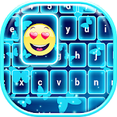 Neon Blue Emoji Keyboard