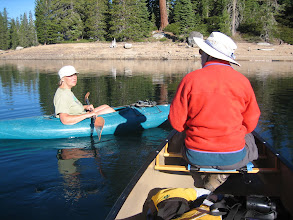 Photo: Jeane and Dee meeting on the lake