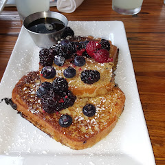 gluten free French toast! with maple syrup and fresh berries