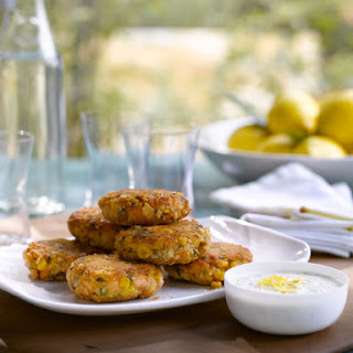 Salmon Cakes with Lemon-Caper Yogurt Sauce