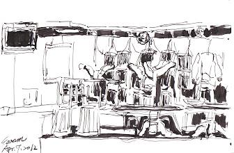 Photo: 堆疊的桌椅2012.04.07鋼筆 員工餐廳的桌椅全堆在角落,今天是洗地板的日子…