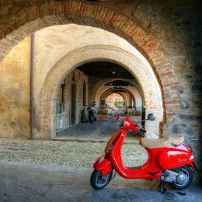 La Vespa by Mariateresa Toledo - Transportation Motorcycles ( svizzera, ticino, hdr, vespa piaggio, portici bissone,  )