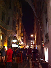 """Photo: Our first night in Sarajevo.  Our hostel """"Home Sweet Home"""" on Muvekita Street - apparently, the bar street."""
