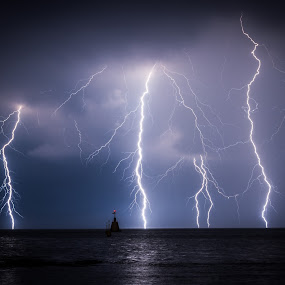 Crazy lightning by Matic Cankar - Landscapes Weather ( clouds, thunder, amazing, epic, lightning, autumn, blue, sea, night, storm, coast,  )