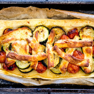 Courgette, Tomato and Halloumi Tart.