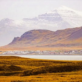 Iceland Vista by Dee Haun - Landscapes Mountains & Hills ( snowy mountain, 16x9, town, 181003fce3, colofrul hill, mountains & hills, landscape )