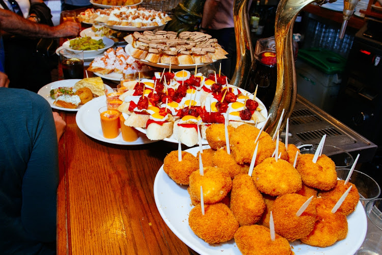Pintxos in Spain.