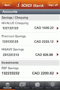 ICICI Bank Mobile- Canada screenshot 1