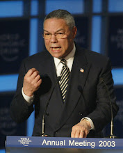 Photo: DAVOS,26JAN03 - Colin Powell, US Secretary of State, speaks during the session ' Dialogue with the US Secretary of State' at the 'Annual Meeting 2003' of the World Economic Forum in Davos/Switzerland, January 26, 2003. 