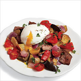 Steak Hash with Poached Eggs.