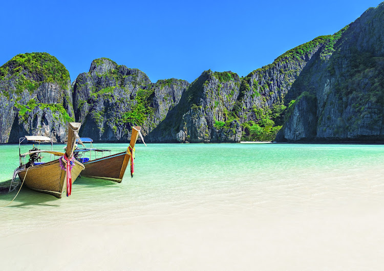 Maya Bay, ringed by cliffs on Ko Phi Phi Leh island, is where the film 'The Beach' was shot.