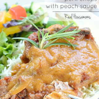 Slow Cooker Pork Chops with Peach Sauce.