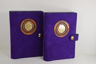 Photo: P0419 (left or right $49.95) Chrome Tanned Purple color Suede leather Portable Paperback Big Book (Medallion Holder and Snap & Strap)