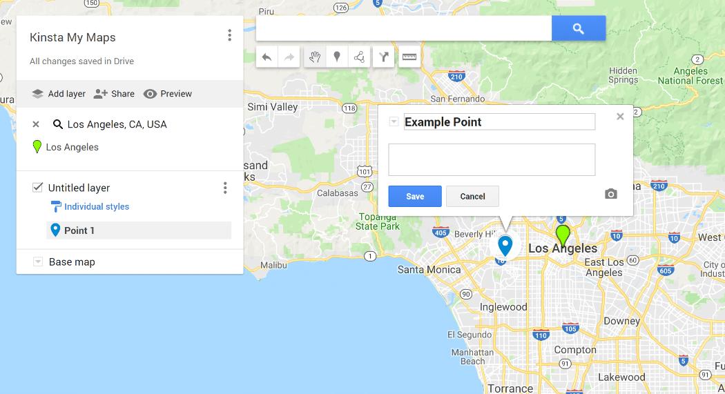 Google My Maps interface