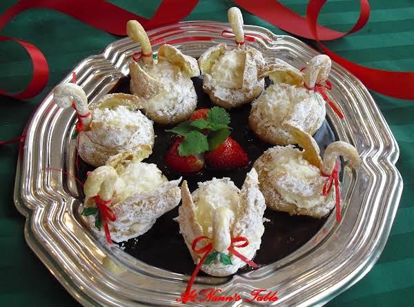 Swan Cream Puffs On A Chocolate Pond Recipe