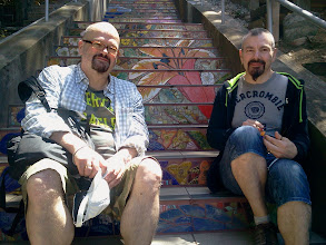 Photo: Peter Cavanna and Regis Moines visited the Hidden Garden Steps (16th Avenue, between Kirkham and Lawton streets in San Francisco's Inner Sunset District) from Paris to see their tiles on the Steps during their month-long in June 2014.  They became project donors after seeing project artists Aileen Barr and Colette Crutcher's first set of ceramic tiles steps (Moraga Street, between 15th and 16th avenues) during a visit in summer 2013.   For more information about the Steps, please visit our website (http://hiddengardensteps.org), view links about the project from our Scoopit! site (http://www.scoop.it/t/hidden-garden-steps), or follow our social media presence on Twitter (https://twitter.com/GardenSteps), Facebook (https://www.facebook.com/pages/Hidden-Garden-Steps/288064457924739) and many others.