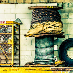 Dock by Bruce Byrne - City,  Street & Park  Street Scenes ( wire, propane, loadingdock, cable, tire, nosmoking, spools,  )